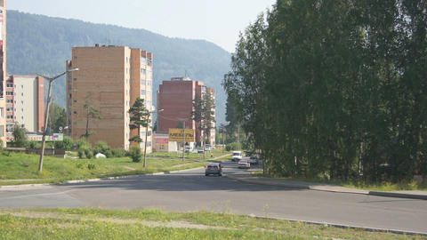 Town of Divnogorsk Street View Stock Video Footage