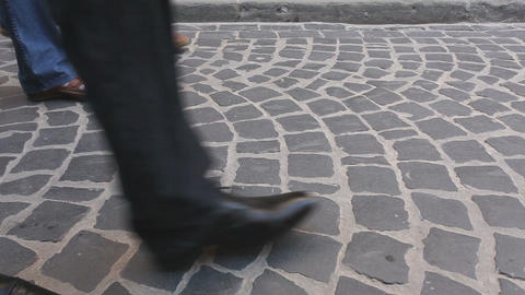 Rushing crowd with legs in different footware Stock Video Footage