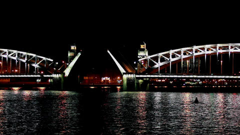 drawbridge at night time lapse Stock Video Footage