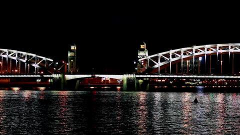 drawbridge at night time lapse Stock Video Footage