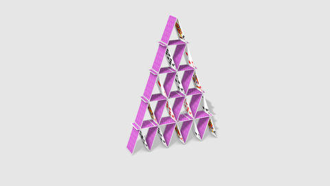 Card Pyramid Stock Video Footage