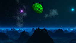 Green planet and UFO in the sky of a fantastic planet Animation