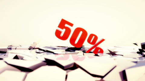 50 percent discount falling and smashing the ground with... Stock Video Footage