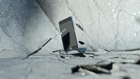Smart phone falling down and smashing the concrete floor... Stock Video Footage