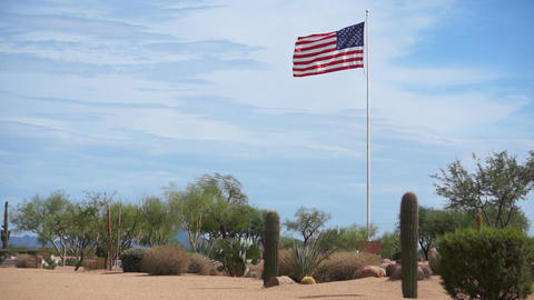 USA Flag Flying High in the Desert Stock Video Footage