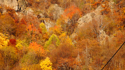 Carpathian Mountains In The Autumn.Monastery In The Mountains. Pan Tilt Down stock footage