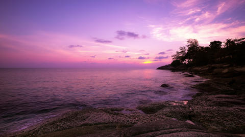 Amazing sunset over the tropical sea. Time lapse. Phuket island, Thailand travel Live Action