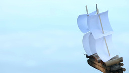 Sailing ship on a blue background Footage