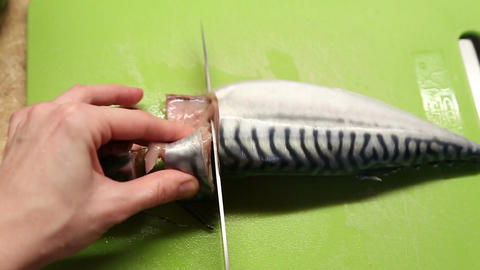 A woman cut the mackerel into pieces Footage