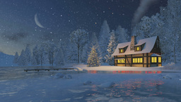 Illuminated rustic house and christmas tree at snowfall night Footage