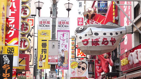 OSAKA, JAPAN - March 2015 - Dotonbori Entertainment District Tourists Shopping S Footage