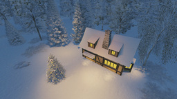 Rustic House And Christmas Tree At Night stock footage