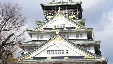 Facade of Osaka Castle in Osaka Japan Footage