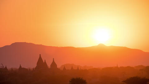 Sunset Time Lapse Over Ancient Buddhist Temple Silhouettes At Bagan. Myanmar stock footage