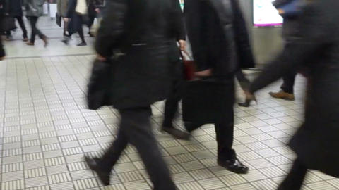 OSAKA, JAPAN - MARCH 2015: - Commuters walking in rush hour at subway transit st Footage