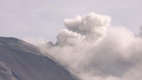 volcano crater during eruption Footage