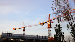 Bucharest, Romania - November 2015 Cranes Working For A New Mall , Motion Speed stock footage