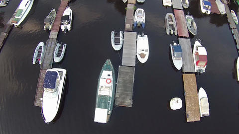 camera flying over yachting marina Footage