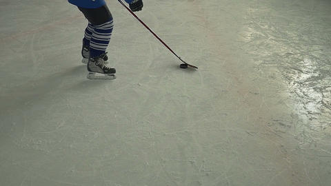 Hockey Player Dribbling stock footage