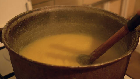 Boiling Polenta in Cauldron Footage