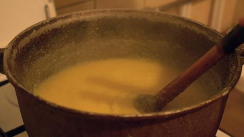 Boiling Polenta in Cauldron Footage