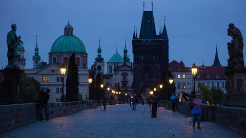 Photographers and Tourists on the Charles Bridge. Prague. Time Lapse 4K Footage
