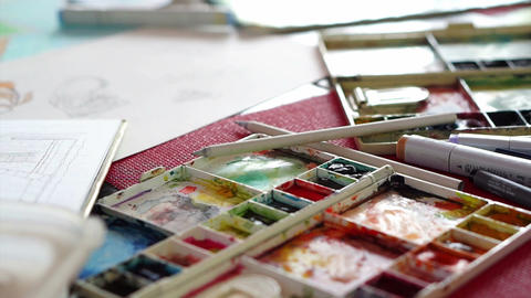 Painting With Paintbrush Paint-Box, Watercolor Paints Palette, Brush Footage