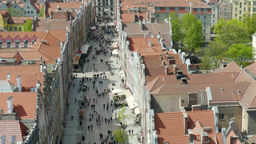 Gdansk, Poland. Zoom In At Market In The Old Town, View From Above stock footage
