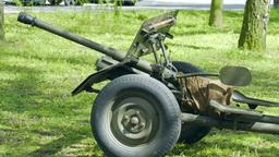 Bofors 37 Mm Gun. An Anti-tank Gun From World War II stock footage