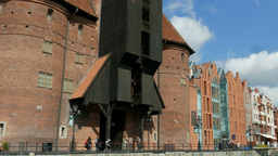 Gdansk, Poland. Riverside promenade in the old town - view from the river Footage