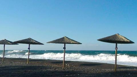 natural beach on santorini Footage
