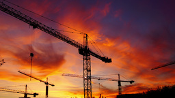 Bucharest, Romania - November 2015 Cranes Working For A New Mall ,static stock footage