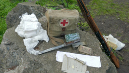Historical Military First Aid Kit stock footage