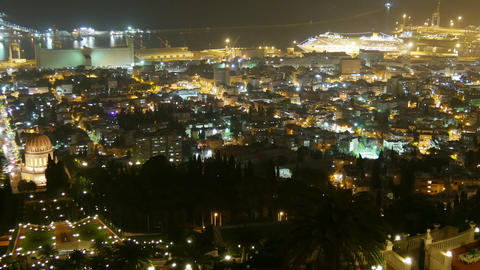 City Traffic - Night Time lapse. Haifa. Israel Footage