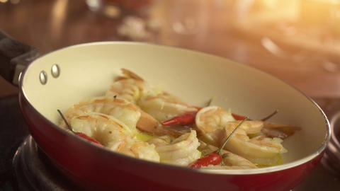 Shrimps On Pan With Red Chilly Pepper stock footage