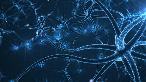 Blue Neurons with electric impulses Animation