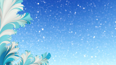 Winter fractal and snowfall motion background Loop 4K Animation