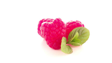 Ripe raspberry with leaf Footage