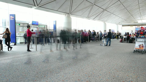 Boarding Exit Queue, Long Line Passengers Pass To Economy Class, TIMELAPSE stock footage