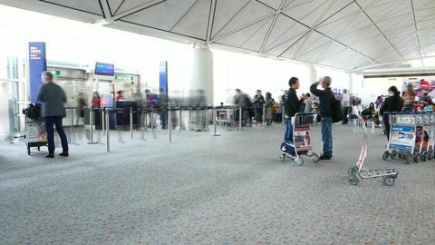 Passenger queue terminal gate boarding time, TIMELAPSE shot Footage