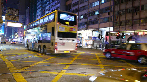 Double-decker transport with sound on the night street Footage