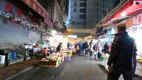 Open market in night, detached part, scarcity of people Footage