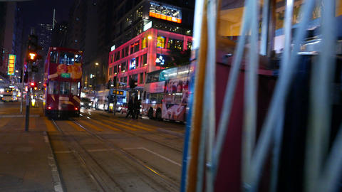 Back blinking lights of the tram, boarding passengers Footage