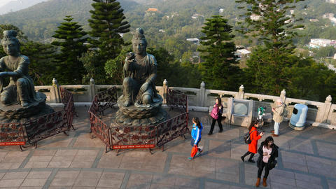 """Two statues from """"Offering Six Devas"""" group at Tian Tan Buddha Footage"""