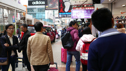 Walking on busy and crowded street of HongKong Footage