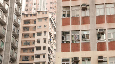 High dencity urban city view, high-rise living apartments crowded houses Footage