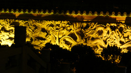 bas-relief wall decoration in the night, chinese dragons ornament Footage