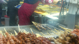 Cooking grilled shish kebab and shashlik on wood sticks Footage