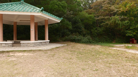 Modern Chinese pavilion stand empty at forest glade, slide view Footage
