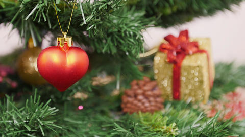 Decoration Of Christmas Tree Red Heart Toy stock footage